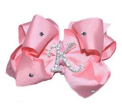 pink hair bow personalized bling initial pink hair bow personalized bling