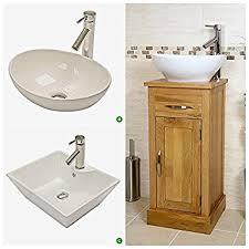 compact oak cloakroom vanity unit with basin amazon co uk