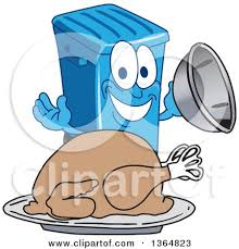 clipart of a blue rolling trash can bin mascot welcoming