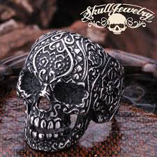 buy skull rings images Vintage black eyes flower skull ring stainless steel 2350 jpg