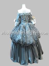 Baroque Halloween Costumes Aliexpress Buy 17 18th Century Gray Floral Marie Antoinette