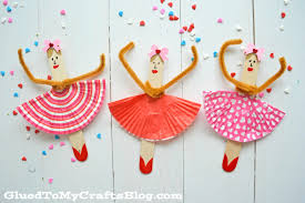 popsicle stick ballerinas kid craft glued to my crafts