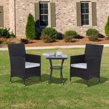 Outdoor Bistro Chairs Outsunny 3 Pcs Rattan Bistro Set 2 X Chairs 1 X Table Brown
