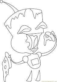 gir eating pizza coloring page free invader zim coloring pages