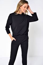 black jumpsuit sleeve jacqueline de laurette relaxed 3 4 sleeve jumpsuit iclothing