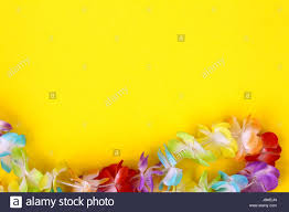 coloured flower necklace images Rainbow coloured fake flowers on a necklace around a plain jpg