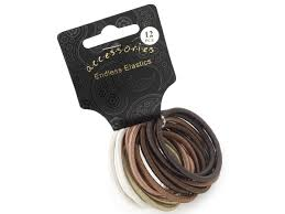 hair elastic set of 12 coloured thick snag free endless hair elastics