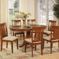 Oval Kitchen Table Sets by Dining Room Decoration Using Double Pedestal Brown And White Wood