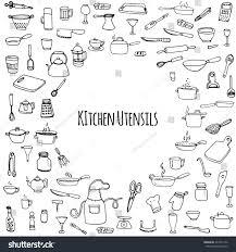 Kitchen Utensils Hand Drawn Doodle Kitchen Utensils Set Stock Vector 374772142