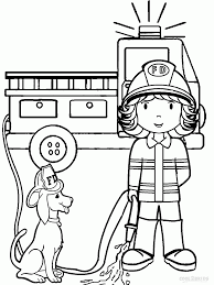 cartoon firefighter coloring page coloring home