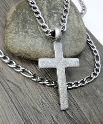 stainless cross necklace images Men 39 s cross necklace christian jewelry rustic cross jpg