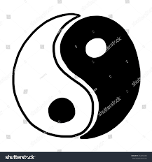 yin yang cartoon vector illustration black stock vector 664676230