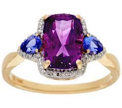 14k gold large diamond amethyst uruguayan amethyst and tanzanite ring 14k gold 2 20 cttw page 1