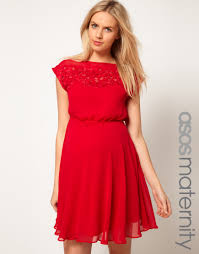 asos lace insert skater dress in red lyst