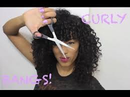 how to cut your own curly hair in layers cutting curly bangs dry cutting method sunkissalba youtube