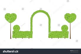 Topiary Wedding - topiary wedding arch different shape bushes stock vector 423273793