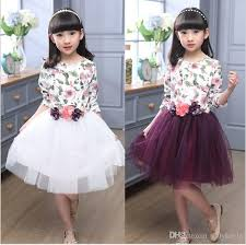 discount 2016 new spring big girls long sleeve dress kids floral