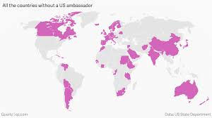 Map Of United States Without Names by The Us Doesn U0027t Have Ambassadors For 57 Countries With A Total 3 9