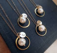 personalized wedding jewelry bridal jewelry gift set of six gold necklaces for bridesmaids