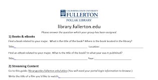 library orientation worksheet pollak library elearning