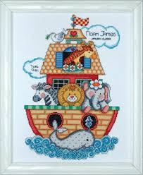 design works noah s ark birth record counted cross stitch kit