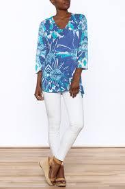 lulu b blue print tunic top from rhode island by sail loft
