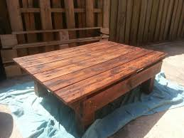 Outdoor Furniture Made From Wood Pallets Outdoor Coffee Table Made From Pallet Wood And Stained In Minwax