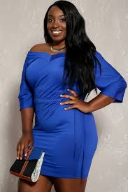 royal blue v cut long sleeve bodycon plus size party dress