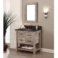 Rustic Style Dark Limestone Top 36 Inch Bathroom Vanity With