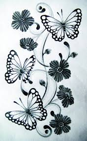 drawings of flowers and butterflies butterfly on flower outline