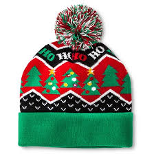 Knit Cap With Led Light Led Light Christmas Tree Holiday Pom Hat Target