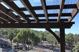 Attached Pergola Kits by Cedar City Attached Pergola With Translucent Corrugated Roof