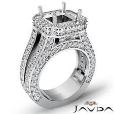 semi mount engagement rings engagement ring halo setting 18k white gold asscher semi