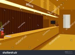 hotel reception interior checkin desk perspective stock vector