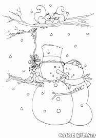 coloring page snowman wearing a scarf and hat