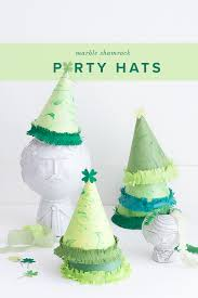diy st patrick u0027s day marbled shamrock party hats the house that