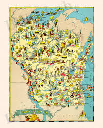 Wi State Map by Pictorial Map Of Wisconsin Colorful Fun Illustration Of