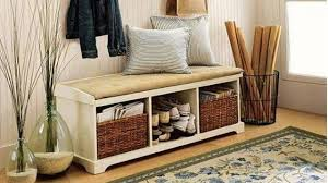Solid Wood Shoe Storage Bench Storage Bench With Baskets And Cushion Solid Wood Entryway Image