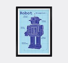 Wall Blueprints Modern Blueprint Robot Kids Wall Art By Moderngenes On Etsy Love