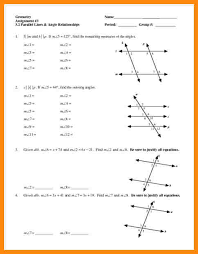 8 angle relationship worksheet math cover