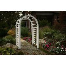 Arbors And Trellises New England Arbors Livingston 91 In X 49 In Vinyl Arbor Va68103
