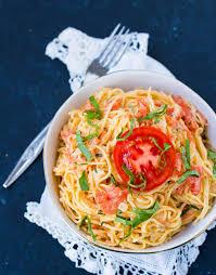 fresh tomato cream sauce with angel hair pasta pink pasta