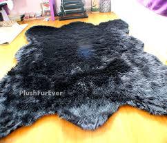 black bear faux fur rug fake animal skin fur large size bear