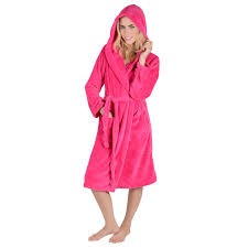 new ladies soft coral fleece hooded bathrobe womens dressing gown