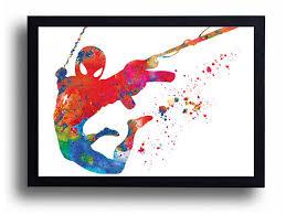watercolor art print spiderman poster marvel hero boy room comic