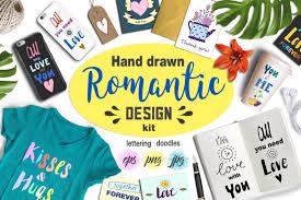 hand drawn romantic design kit by font design bundles