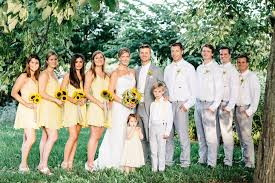 wedding party attire casual gray white and yellow wedding party attire