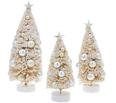 set of 3 graduated bottle brush trees with decorations page 1