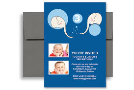 brothers twin boys blank birthday invitation 5x7 in vertical
