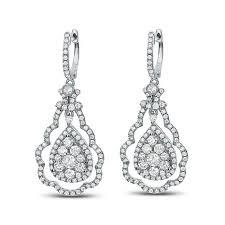 14k white gold earrings diamond couture 2 5ctw scalloped doorknocker 14k white gold